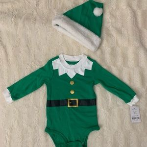 Carters Elf Onesie with Matching Hat 12 Mo.
